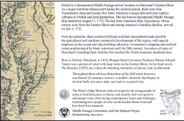 ??  ?? A draft of the two-sided Middle Passage sign to be placed on the grounds of Water's Edge Museum. One side shows a historical map of the slave route into the Chesapeake Bay while another side presents informational context.