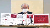 ??  ?? Lawyer Kenji Utsunomiya shows off placards as he attends a news conference after submitting a petition calling for the Tokyo 2020 Olympics to be cancelled to Tokyo Governor Yuriko Koike (not in picture) at the Tokyo Metropolitan Office Press Club in Tokyo.