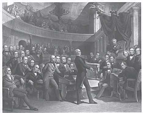 ?? ILLUSTRATION BY P. F. ROTHERMEL, ENGRAVED BY R. WHITECHURCH/LIBRARY OF CONGRESS PRINTS AND PHOTOGRAPHS DIVISION ?? An 1855 engraving depicts Sen. Henry Clay (Ky.) speaking in the Senate on the Compromise of 1850, which addressed issues surrounding slavery. Sen. Daniel Webster (Mass.) is seated to the left of Clay, and Sen. John C. Calhoun (S.C.) is to the left of the speaker's dais.