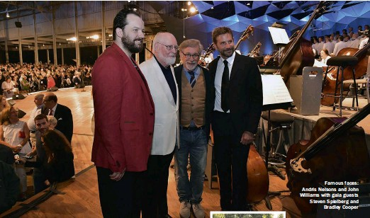 ??  ?? Famous faces: Andris Nelsons and John Williams with gala guests Steven Spielberg and Bradley Cooper