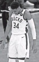 ?? ADAM HUNGER/AP ?? Giannis Antetokounmpo has averaged 26 points in the two games against the Nets.