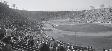 ?? AP ?? A look at the Los Angeles Memorial Coliseum during the AFL-NFL World Championship Game on Jan. 15, 1967.