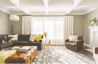 ?? PHOTO COURTESY OF HIBOU DESIGN & CO. ?? A coffered ceiling adds an element of visual drama to any room.