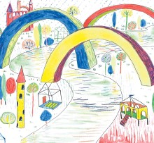 ?? SPECIAL TO THE EXAMINER ?? Arch Town; water colour, marker, and pencil crayon, by graphic artist Claire Valant.
