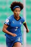 ?? LAPRESSE ?? Carisma Sara Gama, 31 anni, difensore della Juventus Alia Guagni e Aurora Galli. Ma c'è il talismano Franchi, lo stadio in cui le azzurre l'8 giugno 2018, davanti a circa 6.500 spettatori, conquistarono il pass mondiale.