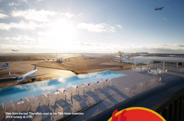 ??  ?? View from the top! The infinity pool at the TWA Hotel overlooks Jfk's runway 4L/22R.