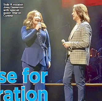 ??  ?? Side A vocalist Joey Generoso with special guest Sharon Cuneta