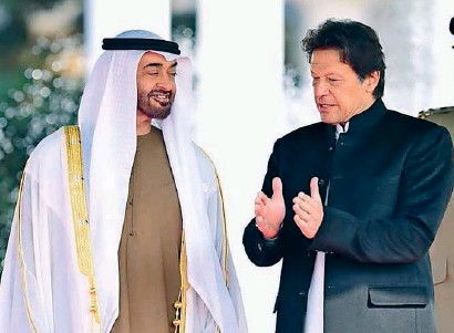 ??  ?? Sheikh Mohamed bin Zayed listens to a point explained by imran Khan at the welcoming ceremony.