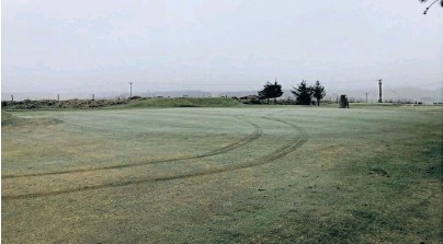 ??  ?? MINDLESS: Vandals have damaged the 17th green at Oldmeldrum Golf Club, despite lockdown conditions