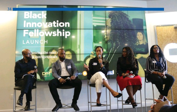 ?? Ryerson DMZ photo ?? Panel speakers at the DMZ's Black Innovation Programs launch in May, 2019. Left to right: Richard Lachman, Isaac Olowolafe, Shavonne HasfalMcIntosh, Claudette McGowan, and Paulette Senior.