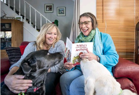 ?? BRADEN FASTIER/STUFF ?? Author Renee Lang, right, and illustrator Polly Rabbits say the work of an animal welfare group during the Pigeon Valley wildfire lent itself to a children's book.