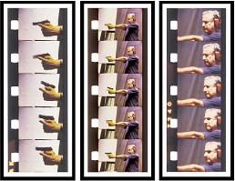 "??  ?? Andrés Denegri. Tres tiros"", 2014, tríptico, 150 x 190 cm, obra del autor invitado a la sección de Homenaje a Oscar Bony."
