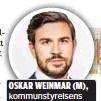 ?? FOTO: ROSIE ALM ?? OSKAR WEINMAR (M), kommunstyrelsens ordförande i Upplands Väsby.