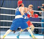 ?? BFI ?? Amit Panghal (R) in action against Shakhobidin Zoirov during the 52kg final of the Asian Championships in Dubai on Monday.