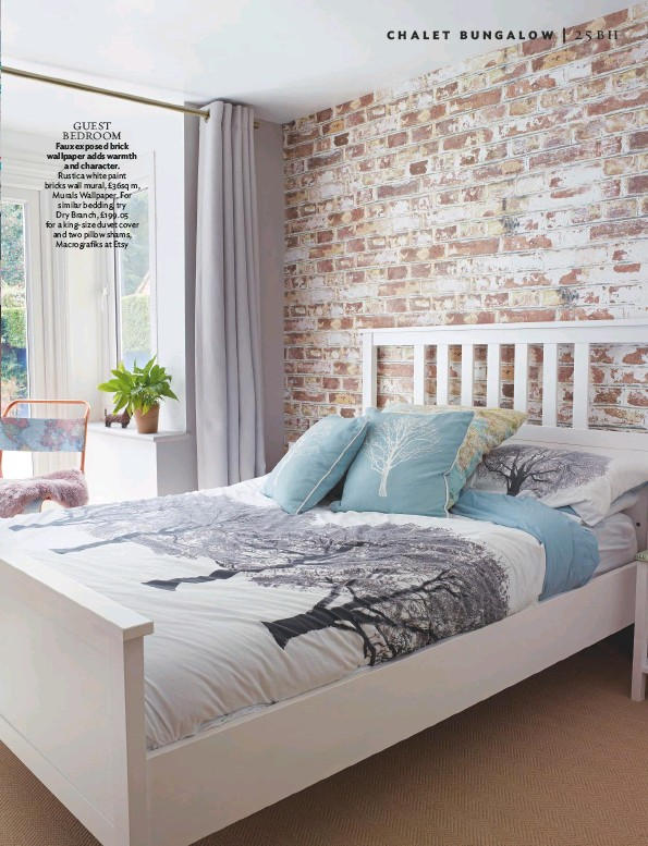 ??  ?? GUEST bedroom Faux exposed brick wallpaper adds warmth and character. rustica white paint bricks wall mural, £36sq m, Murals wallpaper. For similar bedding, try Dry branch, £199.05 for a king-size duvet cover and two pillow shams, Macrografiks at etsy