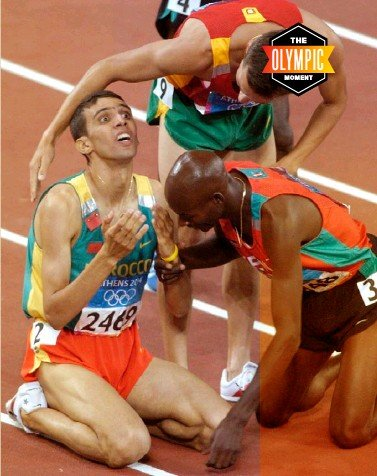 ??  ?? ↖ El Guerrouj on an early morning training run in Ifrane, Morocco, 2002 ↑ El Guerrouj is congratulated by Bernard Lagat and Rui Silva: 'Now I am complete,' he said ← An emotional moment on the podium after winning gold in the 1500m at the Athens Olympics, 2004