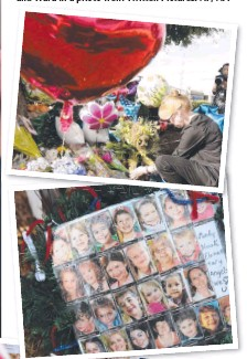 ??  ?? LOOKING DOWN THE BARREL: (Clockwise from left) Vester Lee Flanagan aims a gun over the shoulder of WDBJ-TV cameraman Adam Ward at reporter Alison Parker as she conducts a live on-air interview; a mourner leaves a floral tribute to the slain WDBJ...