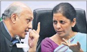 ?? PTI ?? Commerce minister Nirmala Sitharaman (right) with former Ficci president Sidharth Birla in New Delhi on Monday