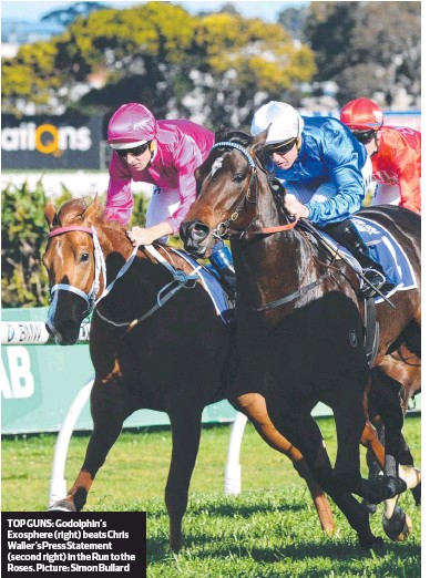 ??  ?? TOP GUNS: Godolphin's Exosphere (right) beats Chris Waller's Press Statement (second right) in the Run to the Roses. Picture: Simon Bullard