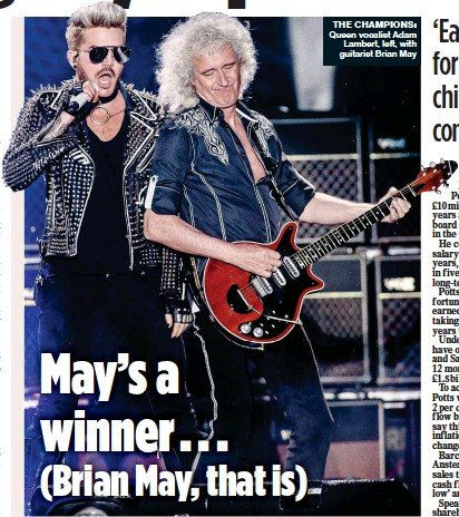 ??  ?? THE CHAM­PI­ONS: Queen vo­cal­ist Adam Lam­bert, left, with gui­tarist Brian May