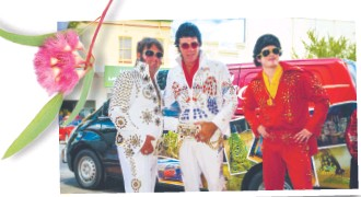 ??  ?? Elvis impersonators – at least 300 converge yearly on Parkes to celebrate their love for the king of rock 'n' roll