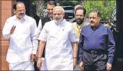 ?? SONU MEHTA/HT ?? PM Narendra Modi arrives for the first day of Parliament's monsoon session with senior party colleagues on Tuesday.