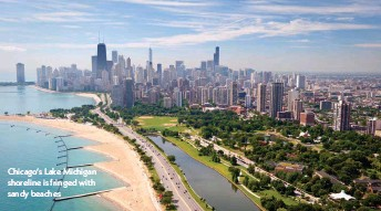 ??  ?? Chicago's Lake Michigan shoreline is fringed with sandy beaches