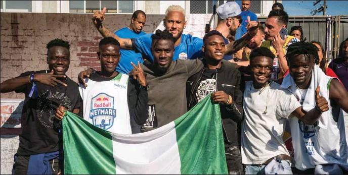 ??  ?? Neymar and AK Marvelous, the Nigerian team- Habeeb Badmus, Ibrahim Salami, Kingsley Arinze, Lukman Olagoke, Saheed Babatunde, Teslim Ayomide, Tobi Tolu Hassan