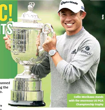 ??  ?? Collin Morikawa stands with the enormous US PGA Championship trophy