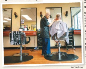 ?? New York Times ?? Some of An­thony Mancinelli's cus­tomers have been com­ing to him for well over 50 years, hav­ing got­ten hun­dreds of hair­cuts.