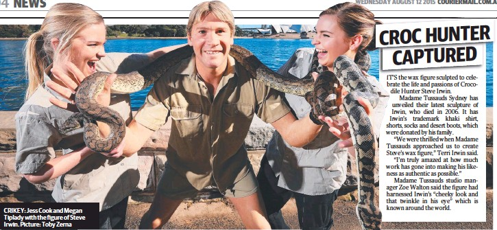 ??  ?? CRIKEY: Jess Cook and Megan Tiplady with the figure of Steve Irwin. Picture: Toby Zerna