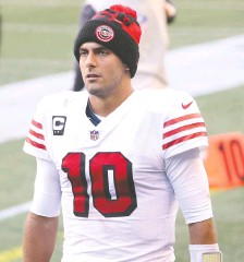 ?? ABBIE PARR/ GETTY IMAGES ?? 49ers QB Jimmy Garoppolo could end up in Chicago, New Orleans or even back in New England next season.