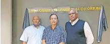 ?? Supplied ?? SATHIE Arunachellam, Cedric Sissing and Bala Chetty at the unveiling of the Ronnie Govender Auditorium. |