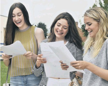 ??  ?? Delighted on results day: Lydia Kynman,Jessica Wilson and Sasha Wharton.
