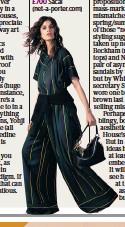 ??  ?? Below, the more wearable incarnations of avant-garde: striped linen-blend T-shirt, £360; striped voile wide-leg pants, £700 Sacai (net-a-porter.com)