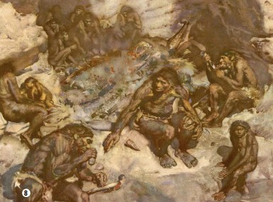 """??  ?? <den M $Wrianos painting from 19 2 oʘers a sympathetic portrayal of Neanderthals practising cannibalism """"It appears as a calm response to death, rather than murderous carnage,"""" writes Rebecca Wragg Sykes"""