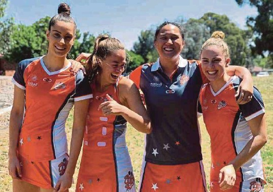 ??  ?? An Najwa (second from right) is all smiles as she poses with her Greater Western Sydney (GWS) teammates.