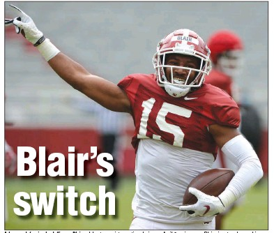 """?? (NWA Democrat-Gazette/Andy Shupe) ?? Arkansas defensive back Simeon Blair celebrates an interception during an April 3 scrimmage. Blair aims to advance his progression from walk-on to key member of the Razorbacks' defense by focusing on his technique and playing at a level that is """"violent and fast."""""""