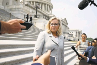 """?? Anna Moneymaker / Getty Images ?? GOP Rep. Liz Cheney speaks to reporters outside the U.S. Capitol. She has warned her party that """"history is watching"""" while speaking out against House Minority Leader Kevin McCarthy."""