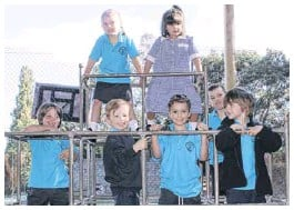 ?? PHOTO: James Robinson ?? W HAPPY PREPS: Wandiligong Primary School prep students for 2021 are: (back row, from left) Alexis Vlahandreas, Victoria Clyne and Quinn Pawlik; (front row, from left) Henry Klasen, Charlie Porter, Leroy Green and Luca Zabilowicz. Absent is Jimi Jagger.