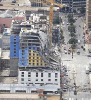 ?? AP ?? Photo shows the Hard Rock Hotel, which was under construction, after a fatal partial collapse in New Orleans on Saturday.
