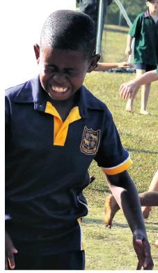 ??  ?? Empangeni Preparatory's Sama Khanyile heads the ball, hoping to find a teammate