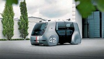 ??  ?? Shared future: Self-driving pods, like this Volkswagen Sedric concept car, could also be the end of car ownership.