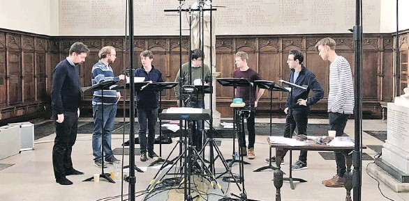 ??  ?? The Gesualdo Six, a young U.K.-based ensemble of vocalists, are currently on a seven-city Canadian tour, and will be performing at St. James Anglican Church this Saturday at 7:30 p.m.