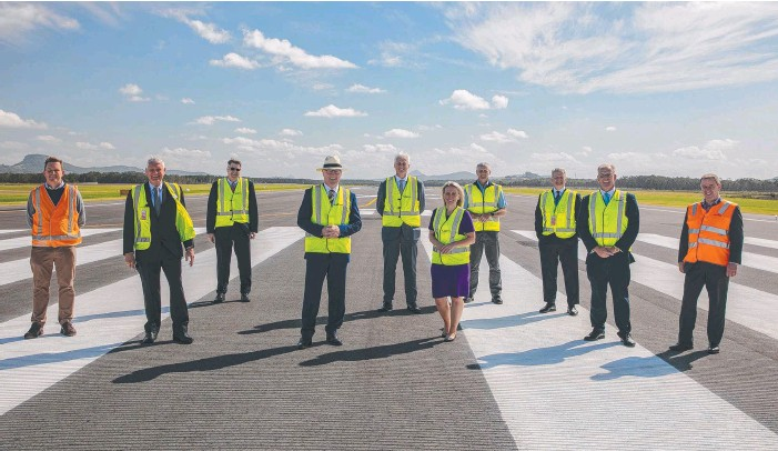 ??  ?? The Sunshine Coast Airport Expansion Project team checks out progress with a critical piece of fuel infrastructure primed and ready.