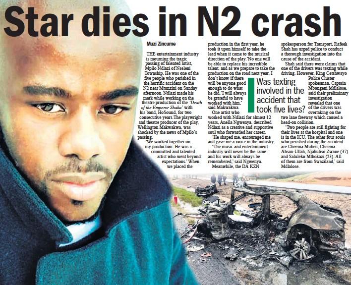 ??  ?? A memorial service for popular musician Mpilo Ndlazi will be held today (Thursday) at the Ngwelezana Community Hall at 5.30pm The burnt wreckage of Mpilo Ndlazi's vehicle after Sunday's horrific crash