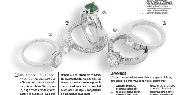 ??  ?? 1. Anillo en oro blanco de 18k con diamante central talla esmeralda en 4 uñas y diamantes de adorno en torno a este. Diamante central de 1.01 quilates y diamantes de adorno que suman 0.08 quilates. 2. Anillo en oro blanco de 18k con diamante central de talla redonda en 4 uñas y diamantes de adorno. Diamante central de 1.14 quilates con clasificación F-VS2 y diamantes de adorno que suman 0.64 quilates. 3. Anillo en oro blanco de 18k hecho a mano con esmeralda central talla cushion y diamantes de adorno. Esmeralda central de 0.88 quilates y diamantes de adorno que suman 0.31 quilates. 4. Anillo en oro blanco de 18k hecho a mano con diamante central talla redonda en 6 uñas y diamantes de adorno. Diamante central de 1.47 quilates con clasificación F-VS2 y diamantes de adorno que suman 0.18 quilates. 5. Anillo en oro blanco de 18k elaborado a mano con diamante central talla princesa en 4 uñas y diamantes de adorno. Diamante central de 1.06 quilates con clasificación F-VS2 y diamantes de adorno que suman 0.27 quilates.