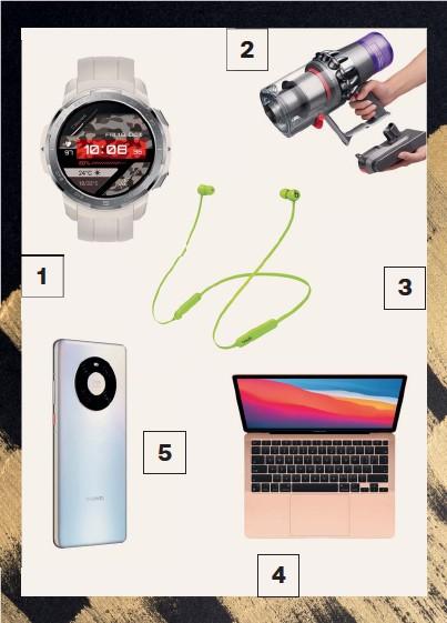 ??  ?? 1. Smart-часы Honor 2. Пылесос Dyson V11 Absolute Extra 3. Наушники Beats Flex 4. Ноутбук Macbook Air 5. Cмартфон Huawei
