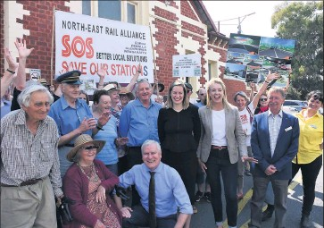 ?? Fighting the good fight for station: ?? Community members were joined by Deputy Prime Minster Michael McCormack, State Member for Euroa Steph Ryan, Victorian Senator Bridget McKenzie and Benalla Rural City Mayor Danny Claridge at Benalla station in February.