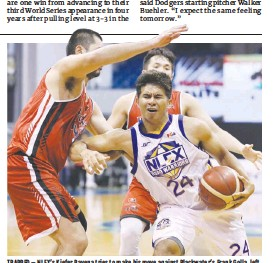 ??  ?? TRAPPED – NLEX's Kiefer Ravena tries to make his move against Blackwater's Frank Golla, left, and Paul Desiderio during Saturday's PBA Philippine Cup game at the AUF Sports and Cultural Center powered by Smart 5G. Blackwater won 98-88. (PBA Images)